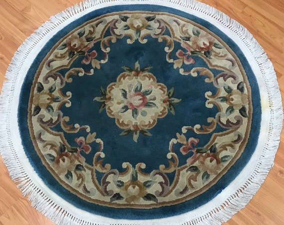 "3'1"" x 3'1"" Round Chinese Aubusson Oriental Rug - Hand Made - 100% Wool"