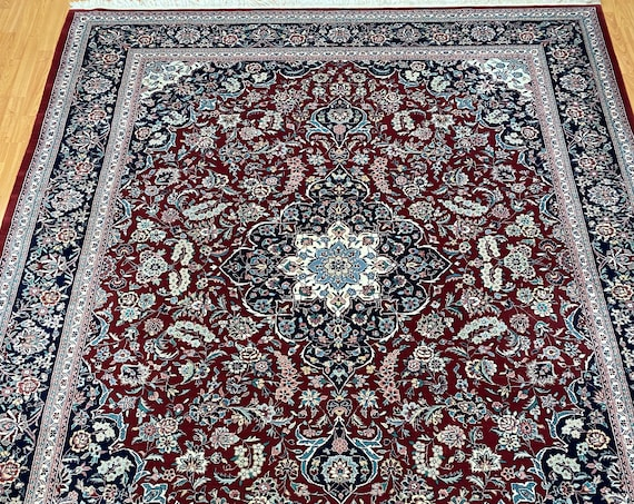 "7'9"" x 9'8"" Pakistani Tab riz Oriental Rug - Full Pile - Hand Made - 100% Wool"