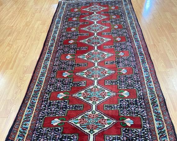 "3'2"" x 9' Kurdish Floor Runner Oriental Rug - Full Pile - Hand Made - 100% Wool"
