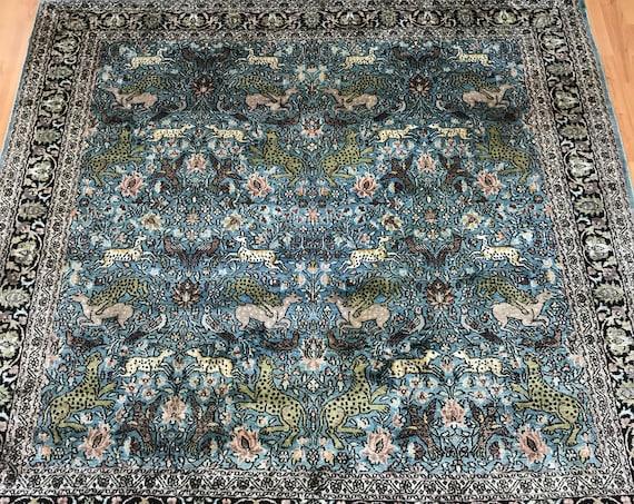 6' x 6' Kashmir Hunting Design Oriental Rug - Full Pile - Hand Made - 100% Silk