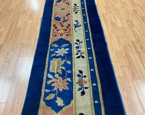 "2'3"" x 10'3"" Antique Chinese Art Deco Runner Oriental Rug - 1920s - Hand Made"