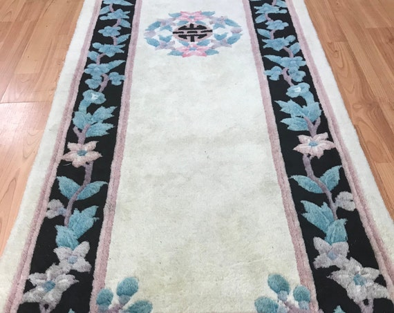 2' x 6' Chinese Aubusson Oriental Rug Floor Runner - Hand Made - 100% Wool