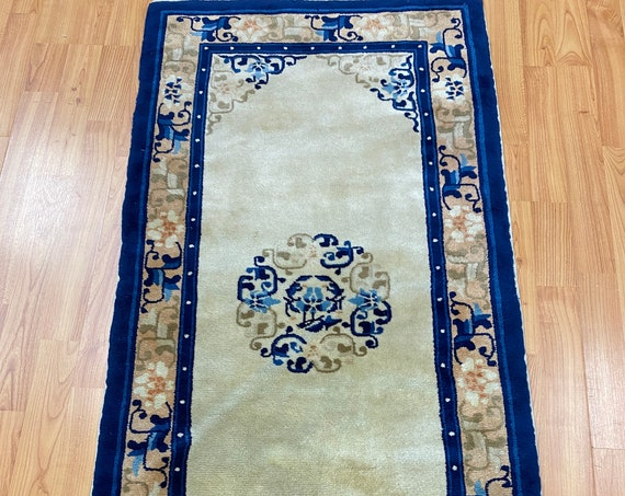 2' x 4' Antique Chinese Aubusson Oriental Rug - 1930s - Hand Made - 100% Wool