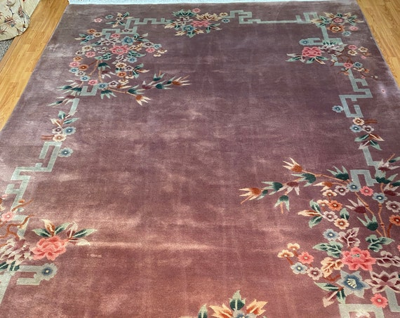 "8'5"" x 11'8"" Chinese Art Deco Oriental Rug - Full Pile - Hand Made - 100% Wool"