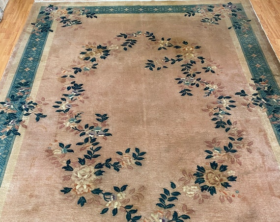"8'2"" x 11'4"" Chinese Art Deco Oriental Rug - 1970s - Hand Made - 100% Wool"