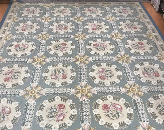 "9'4"" x 13'8"" Chinese Aubusson Oriental Rug - Flat Weave - Hand Made - 100% Wool"