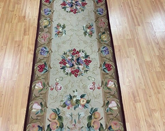 "2'5""' x 7'10"" Chinese Art Deco Floor Runner Oriental Rug - Hand Made - 100% Wool"