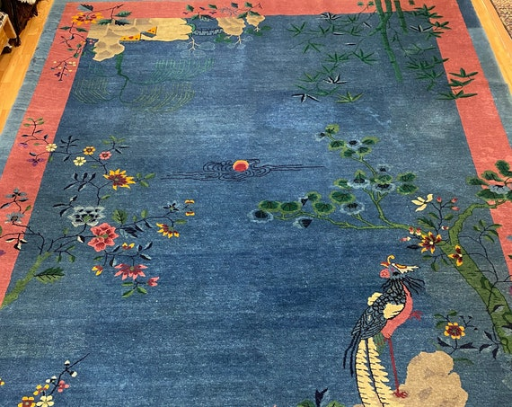 9' x 12' Antique Chinese Art Deco Oriental Rug - 1920s - Hand Made - 100% Wool