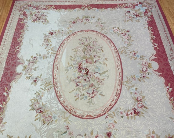 """7'10"""" x 10'3"""" Chinese Aubusson Flat Weave Oriental Rug - Hand Made - 100% Wool"""