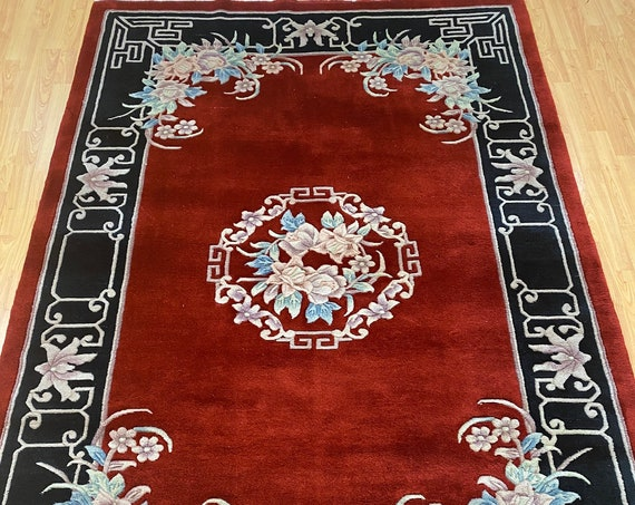 "5'3"" x 8' Chinese Aubusson Oriental Rug - Full Pile - Hand Made - 100% Wool"