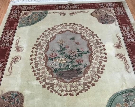 "8'2"" x 10'2"" Chinese Art Deco Oriental Rug - Full Pile - Hand Made - 100% Wool"