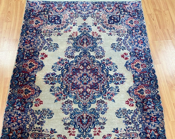 """3'1"""" x 4'10"""" Antique Indian Oriental Rug - 1930s - Hand Made - 100% Wool"""