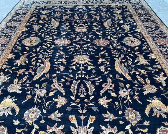 "12' x 18'4"" Indian Sarouk Design Oriental Rug - Hand Made - Full Pile - 100% Wool"