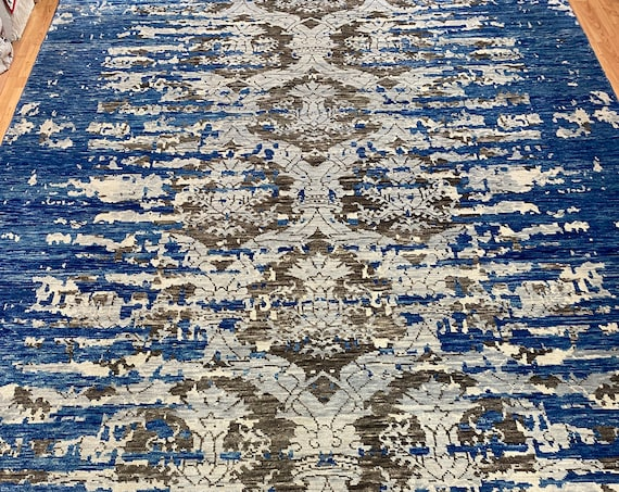 9' x 12' New Soft Melody Indian Oriental Rug - Modern - Hand Made 100% Wool