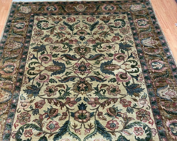 "8' x 10'6"" Indian Agra Oriental Rug - Full Pile - Hand Made - 100% Wool"