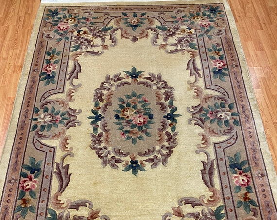 "5'6"" x 8'6"" Chinese Aubusson Oriental Rug - Hand Made - 100% Wool"