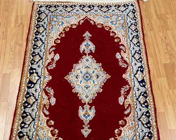3' x 5' Floral Indian Oriental Rug - 1960s - Hand Made - 100% Wool