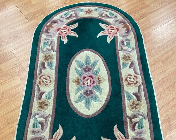 """2'4"""" x 4'6"""" Oval Chinese Aubusson Oriental Rug - Full Pile - Hand Made - 100% Wool"""