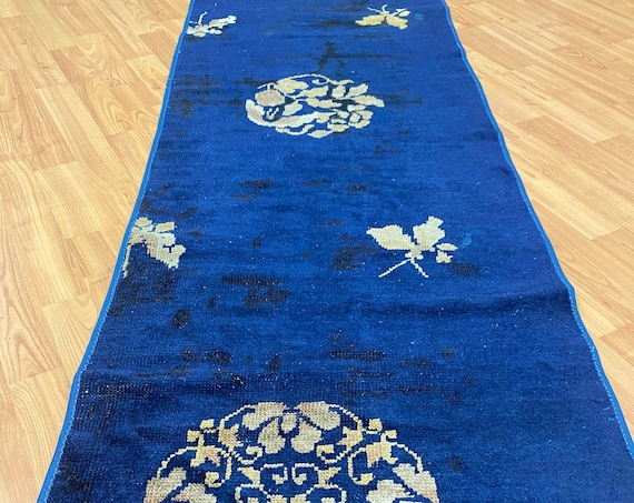"""1'10"""" x 5'2"""" Antique Chinese Art Deco Oriental Rug - 1920s - Hand Made - 100% Wool"""