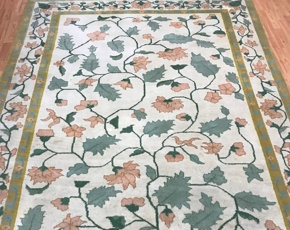 6' x 9' Indian Art Deco Oriental Rug - Floral - Hand Made - 100% Wool