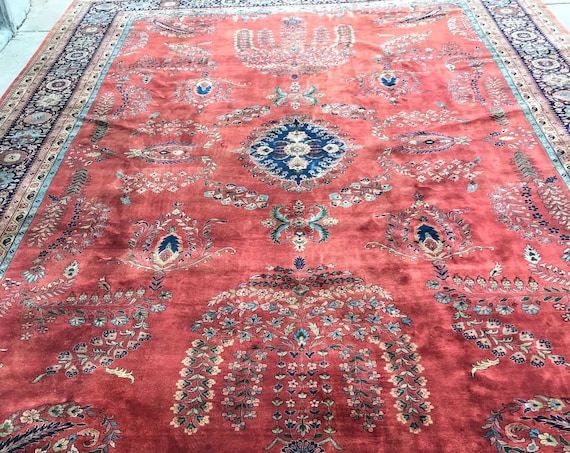"12' x 18'4"" Indian Sa rouk Oriental Rug - Very Fine - Hand Made - 100% Wool"