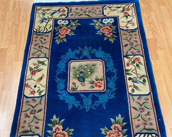 3' x 5' Chinese Art Deco Peacock Design Oriental Rug - Full Pile - Hand Made - 100% Wool