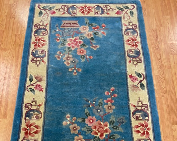 "3' x 5'1"" Chinese Art Deco Oriental Rug - Full Pile - Hand Made - 100% Wool"