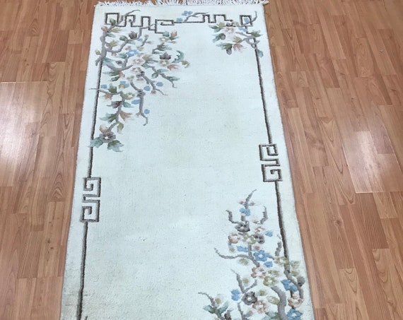 "2'6"" x 6'2"" Chinese Art Deco Runner Oriental Rug -  Hand Made - 100% Wool"