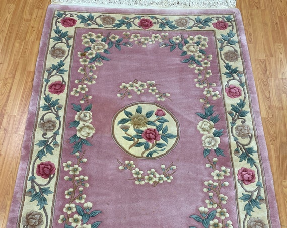 4' x 6' Chinese Aubusson Oriental Rug - 90 Line - Full Pile - Hand Made - 100% Wool