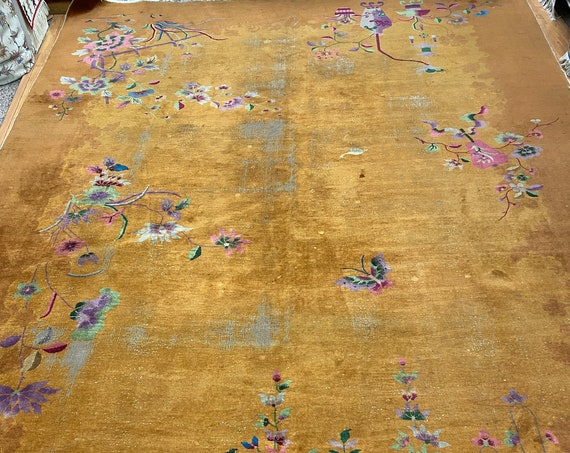 """9'8"""" x 13'3"""" Antique Chinese Art Deco Oriental Rug - 1920s - Hand Made 100% Wool"""