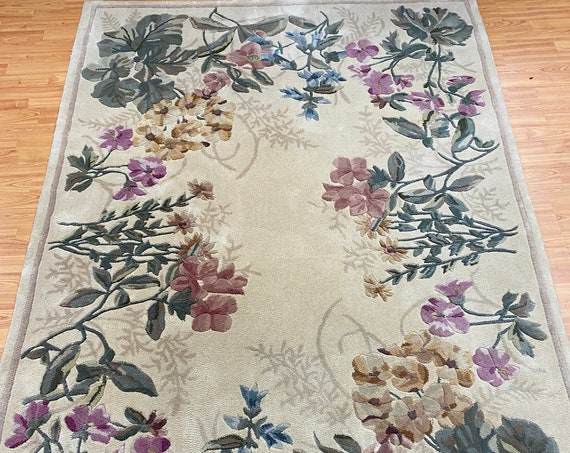 5' x 8' Chinese Floral Oriental Rug - Hand Made - Tufted - 100% Wool