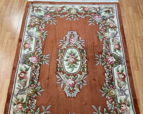 4' x 6' Chinese Aubusson Oriental Rug - Full Pile - Hand Made - 100% Wool