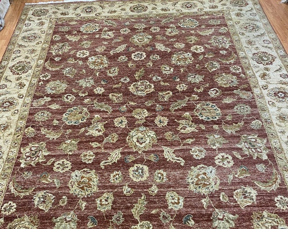 "8'9"" x 11'9"" Indian Agra Design Oriental Rug - Full Pile - Hand Made - 100% Wool"