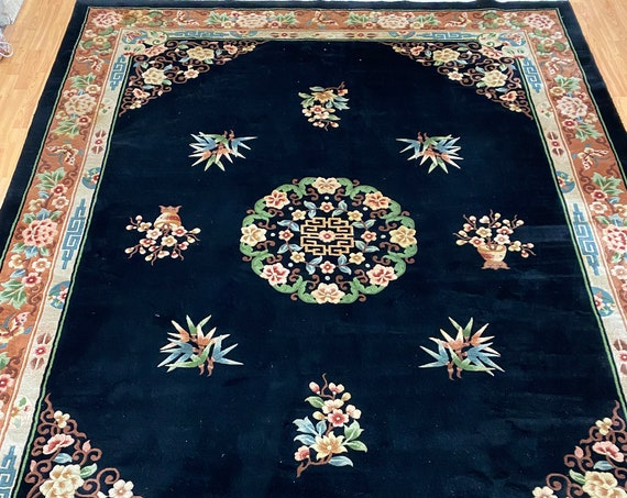 """8'3"""" x 11' Chinese Aubusson Oriental Rug - Full Pile - Hand Made - 100% Wool"""