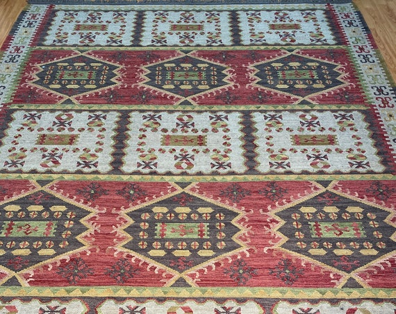 "8'2"" x 10'4"" Turkish Kilim Oriental Rug - 1960s - Hand Made - 100% Wool"