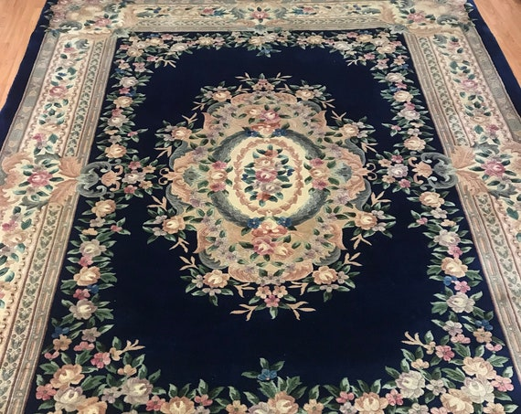 "8'6"" x 11'6"" Chinese Aubusson Oriental Rug - Full Pile - Hand Made - 100% Wool"