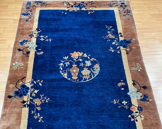 "4'3"" x 6'8"" Antique Chinese Art Deco Peking Oriental Rug - 1930s - Hand Made"