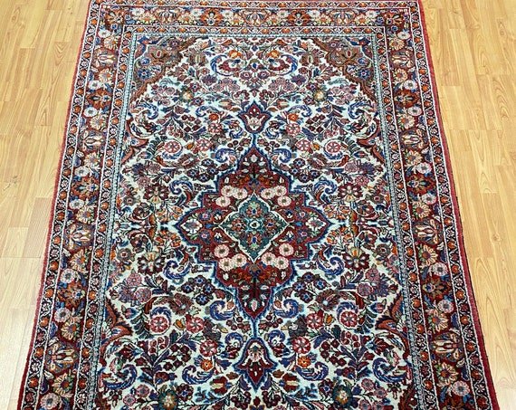 """4'3"""" x 7' Turkish Floral Oriental Rug - Full Pile - Hand Made - 100% Wool"""
