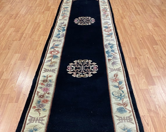 "2'3"" x 10' Chinese Aubusson Floor Runner Oriental Rug - Hand Made - 100% Wool"