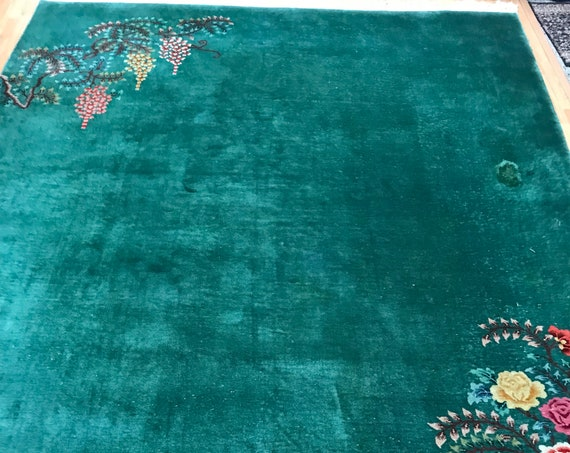 "8'9"" x 11'4"" Antique Chinese Art Deco Oriental Rug - 1940s - Hand Made - 100% Wool"