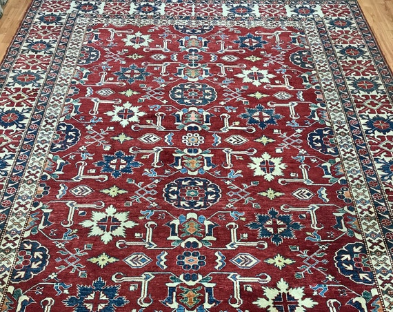 "8'5"" x 10'10"" Pakistani Kazak Oriental Rug - Hand Made - 100% Wool - Vegetable Dye"