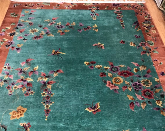 "8'9"" x 11'5"" Chinese Art Deco Oriental Rug - 1930s - Hand Made - 100% Wool"