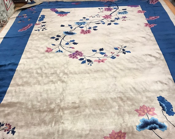 "9'10"" x 14'4"" Antique Chinese Art Deco Oriental Rug - 1920s - Hand Made - 100% Wool"