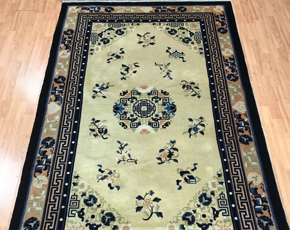 "5' x 8'1"" Antique Chinese Art Deco Oriental Rug - 1940s - Hand Made - 100% Wool"