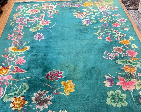 "8'10"" x 11'3"" Antique Chinese Art Deco Oriental Rug - 1920s - Hand Made - 100% Wool"