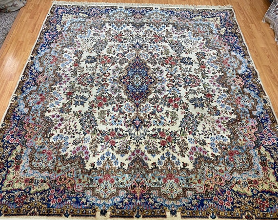 """7'9"""" x 8'3"""" Antique Square Indian Oriental Rug - 1940s - Hand Made - 100% Wool"""