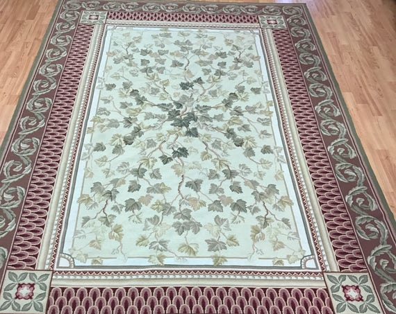 "6'4"" x 9'3"" Chinese Needle Point French Design Oriental Rug - Hand Made - 100% Wool"