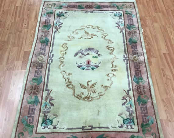 "3'7"" x 5'8"" Chinese Aubusson Oriental Rug - Hand Made - 100% Wool"