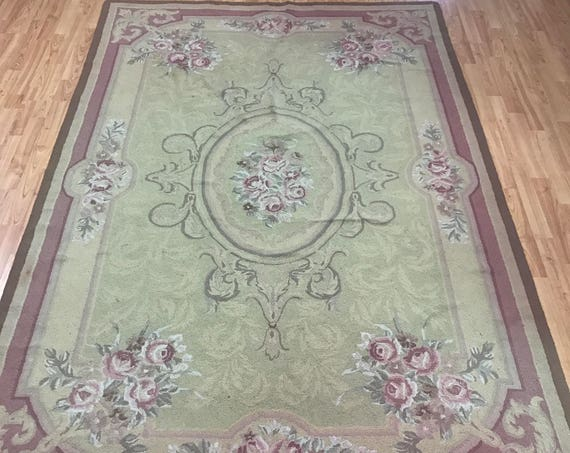 "5'6"" x 8'5"" Chinese Stitch Work Oriental Rug - Hand Made - 100% Wool"