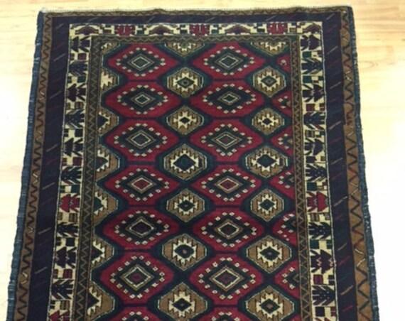"""3'8"""" x 5'10"""" Afghan Turkeman Oriental Rug - Hand Made - 100% Wool Pile"""